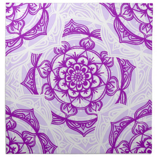 White & Purple Mandala Pattern Napkin