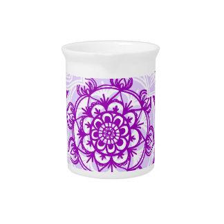 White & Purple Mandala Pattern Pitcher