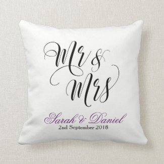 White Purple Mr & Mrs Wedding Pillow Keepsake Gift