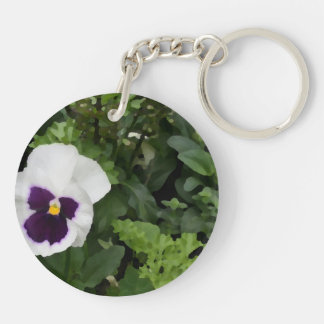 white purple pansy flower against green acrylic key chains