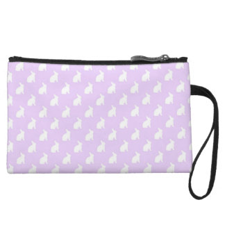 White Purple Pastel Bunny Background Bunnies Wristlet Clutches