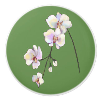 White, purple, & pink orchid spray green knob