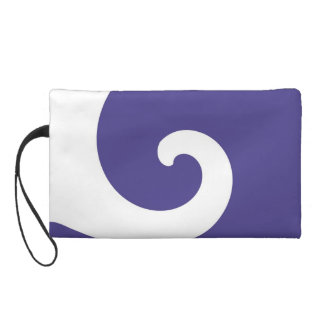 White Purple Retro Funky Painting Abstract Art 2 Wristlet Purse