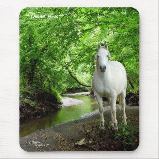 White Quarter Horse lush forest stream Mousepad