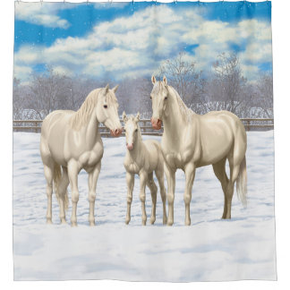 White Quarter Horses In Winter Pasture Shower Curtain