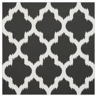 White Quatrefoil Ikat & Custom Black Background 2 Fabric