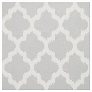 White Quatrefoil Ikat & Custom Gray Background Fabric