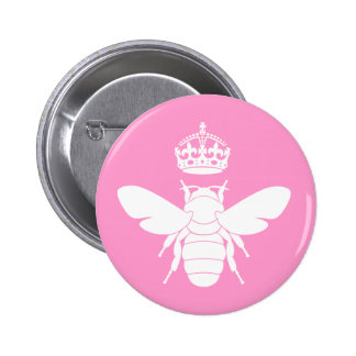 White Queen Bee Logo...Are You A Queen Bee? 6 Cm Round Badge
