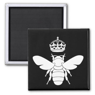 White Queen Bee Logo...Are You A Queen Bee? Square Magnet