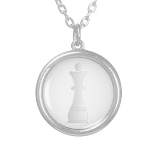 White queen chess piece personalized necklace