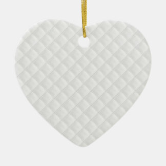 White Quilted Leather Ceramic Heart Decoration
