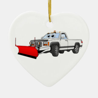 White R Pick Up Snow Plow Cartoon Christmas Ornament