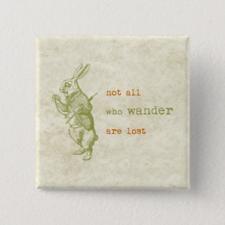 White Rabbit, Alice in Wonderland 15 Cm Square Badge