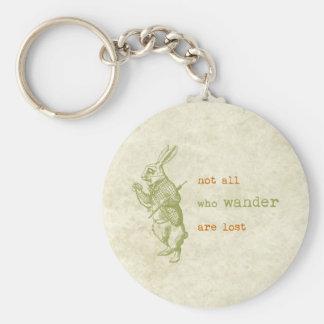 White Rabbit, Alice in Wonderland Basic Round Button Key Ring
