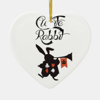 White Rabbit, Alice In Wonderland Ceramic Heart Decoration