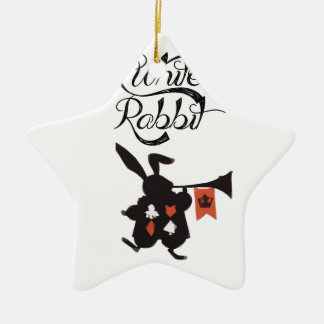 White Rabbit, Alice In Wonderland Ceramic Star Decoration