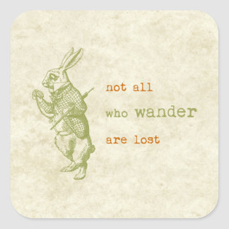 White Rabbit, Alice in Wonderland Square Sticker