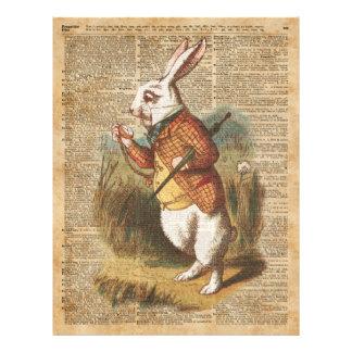 White Rabbit Alice in Wonderland Vintage Art 21.5 Cm X 28 Cm Flyer