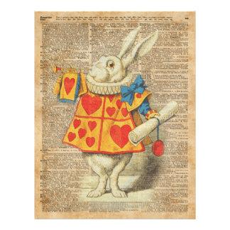 White Rabbit Alice in Wonderland Vintage Artwork 21.5 Cm X 28 Cm Flyer