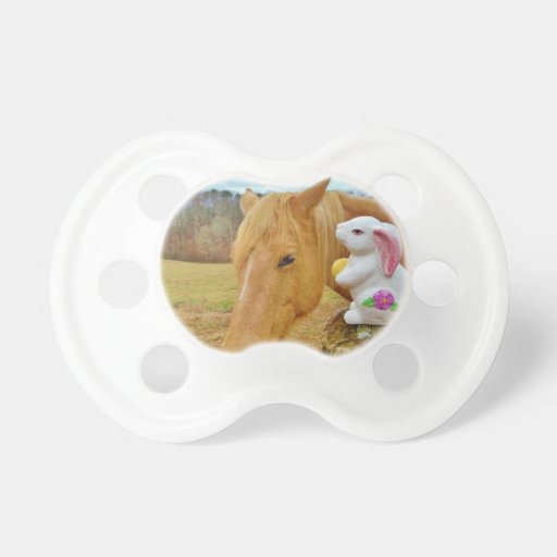 White rabbit and blond yellow horse pacifiers