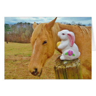 White rabbit and blond yellow horse greeting card