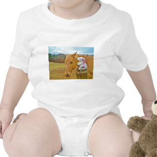 White rabbit and blond yellow horse romper