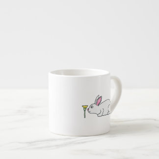 White Rabbit and Flower. Espresso Mug