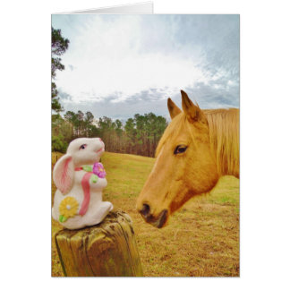 White Rabbit and Yellow Horse Greeting Card