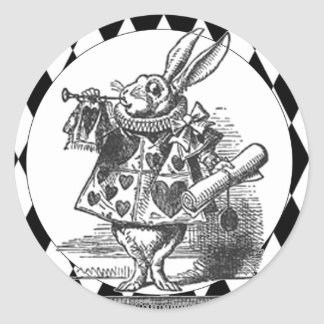 White Rabbit Black/white Harlequin Sticker