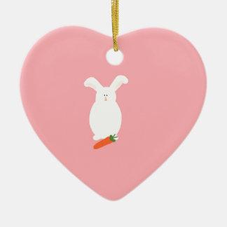 White Rabbit. Bunny and carrot art print design Ceramic Heart Decoration