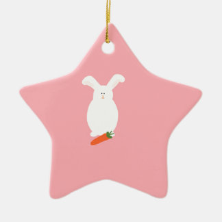 White Rabbit. Bunny and carrot art print design Christmas Ornament