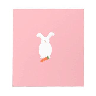 White Rabbit. Bunny and carrot art print design Notepad
