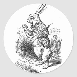 White Rabbit Classic Round Sticker