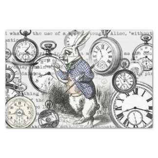 White Rabbit Clocks Alice in Wonderland Tissue Paper