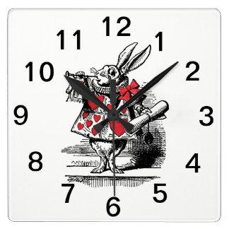 White Rabbit Court Trumpeter Alice in Wonderland Square Wall Clock