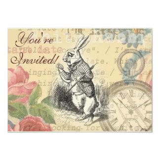 White Rabbit from Alice in Wonderland 11 Cm X 16 Cm Invitation Card
