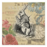 White Rabbit from Alice in Wonderland Poster