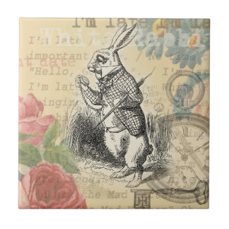 White Rabbit from Alice in Wonderland Small Square Tile