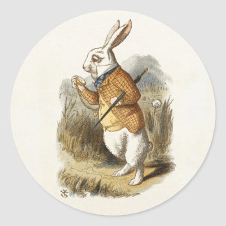 White Rabbit from Alice In Wonderland Vintage Art Classic Round Sticker