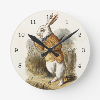 White Rabbit from Alice In Wonderland Vintage Art Round Clock