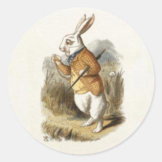 White Rabbit from Alice In Wonderland Vintage Art Round Sticker