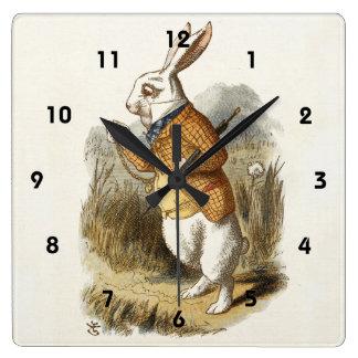 White Rabbit from Alice In Wonderland Vintage Art Wall Clock