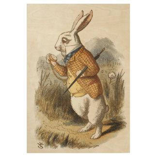 White Rabbit from Alice In Wonderland Vintage Art Wood Poster