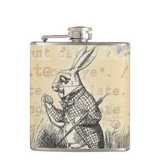White Rabbit from Alice in Wonderland Hip Flasks