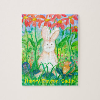 White Rabbit Happy Easter Custom Name Jigsaw Puzzle