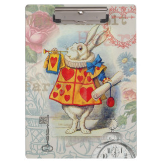 White Rabbit Hearts Clipboard