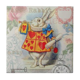 White Rabbit Hearts Tile