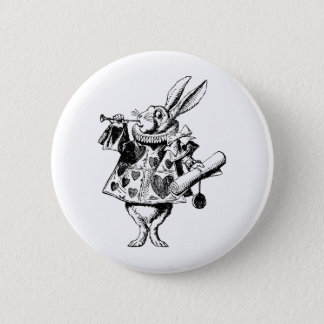 White Rabbit Herald Inked Black 6 Cm Round Badge