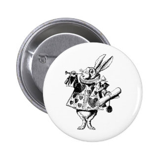 White Rabbit Herald Inked Black 6 Cm Round Badge
