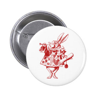 White Rabbit Herald Inked Red 6 Cm Round Badge